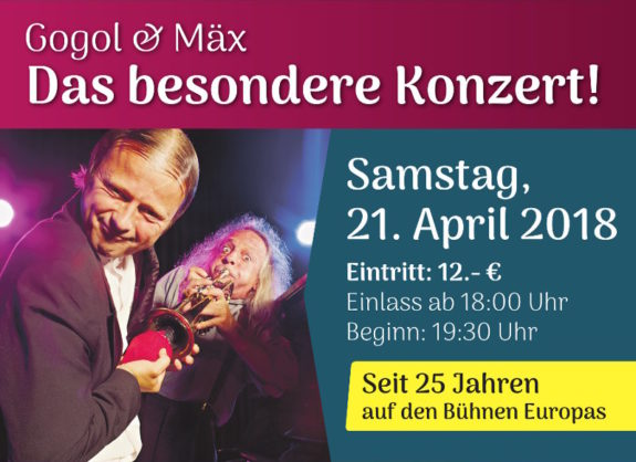 Plakat zum Konzert mit Gogol & Mäx