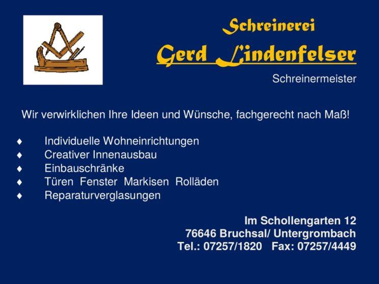 Sponsorenlogo: Schreinerei Lindenfelser
