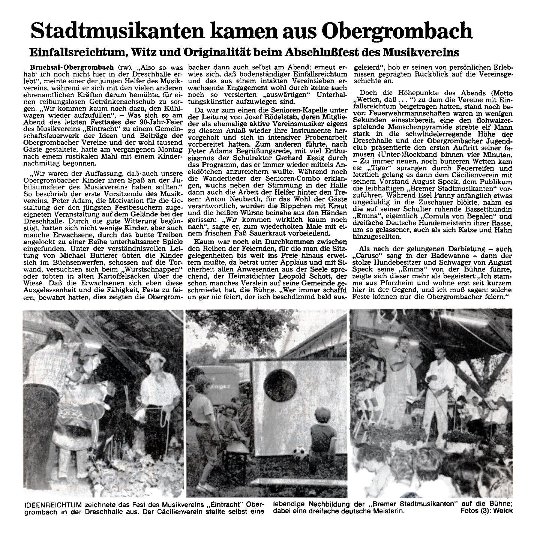 Zeitungsausschnitt aus dem Jahr 1983